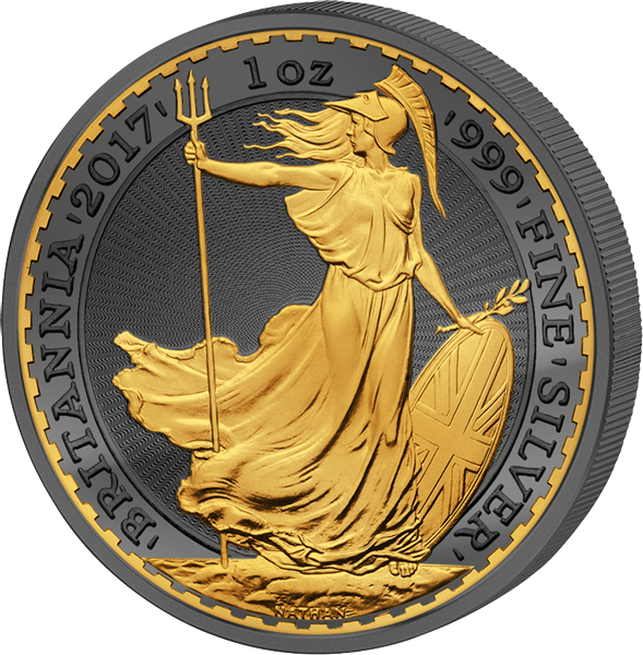 Britannia silver gilded coin with black ruthenium