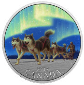 Iconic Canada: Dog Sledding Under the Northern Lights 2017 10 dollars 1/2 oz Pure Silver Coloured Coin